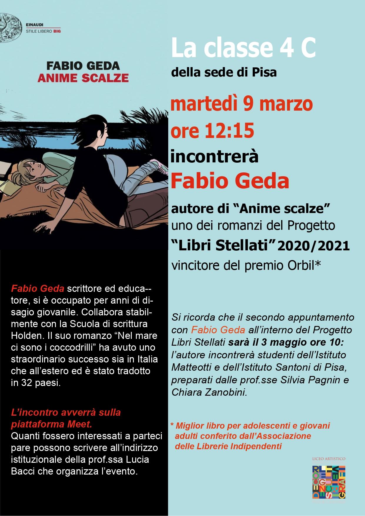 """9 marzo – Libri Stellati – Incontro con Fabio Geda, autore di """"Anime Scalze"""""""